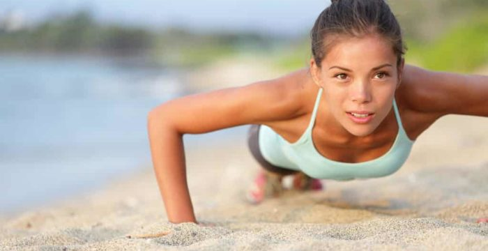 Woman push up exercise